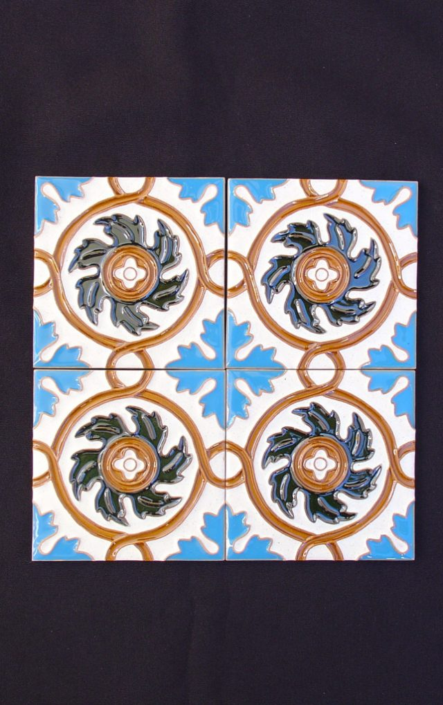 Motif painted tiles Hispanic Arabic