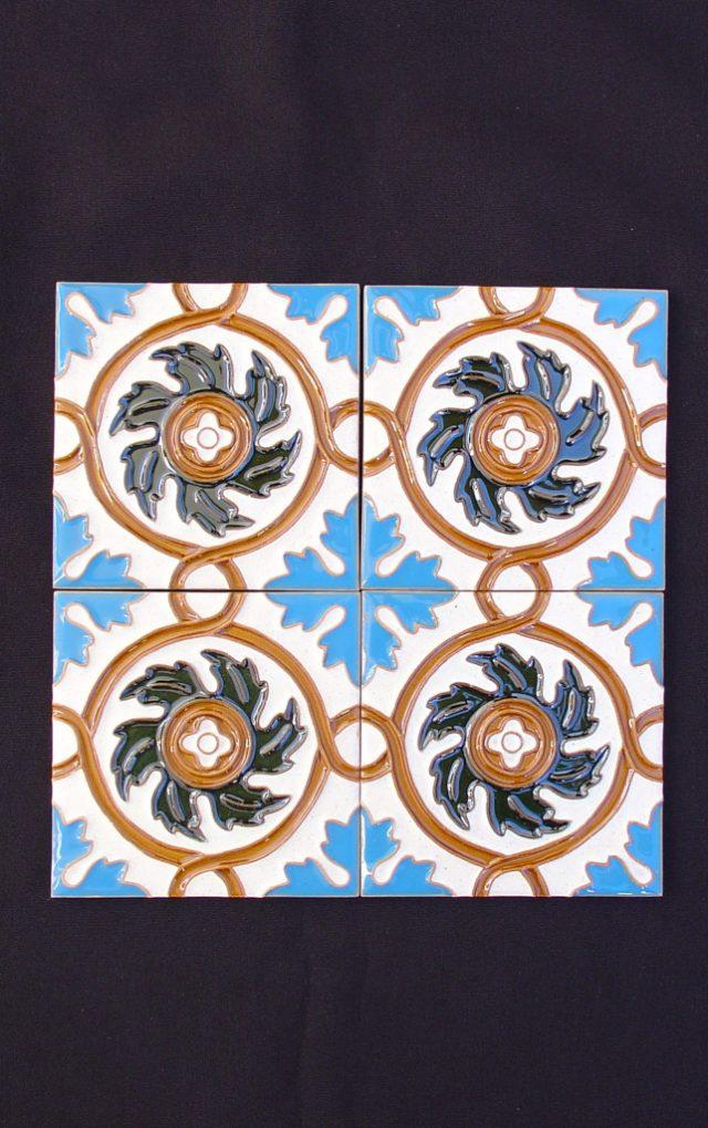 Motif painted tiles Hispanic Arabic