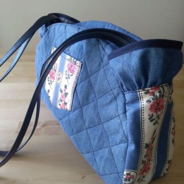 Blue Flowers Denim Bag